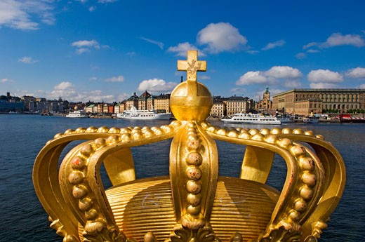 Golden Crown on Skeppsholmsbron Bridge. , Skeppsholmen, Stockholm, Sweden. : Stock Photo