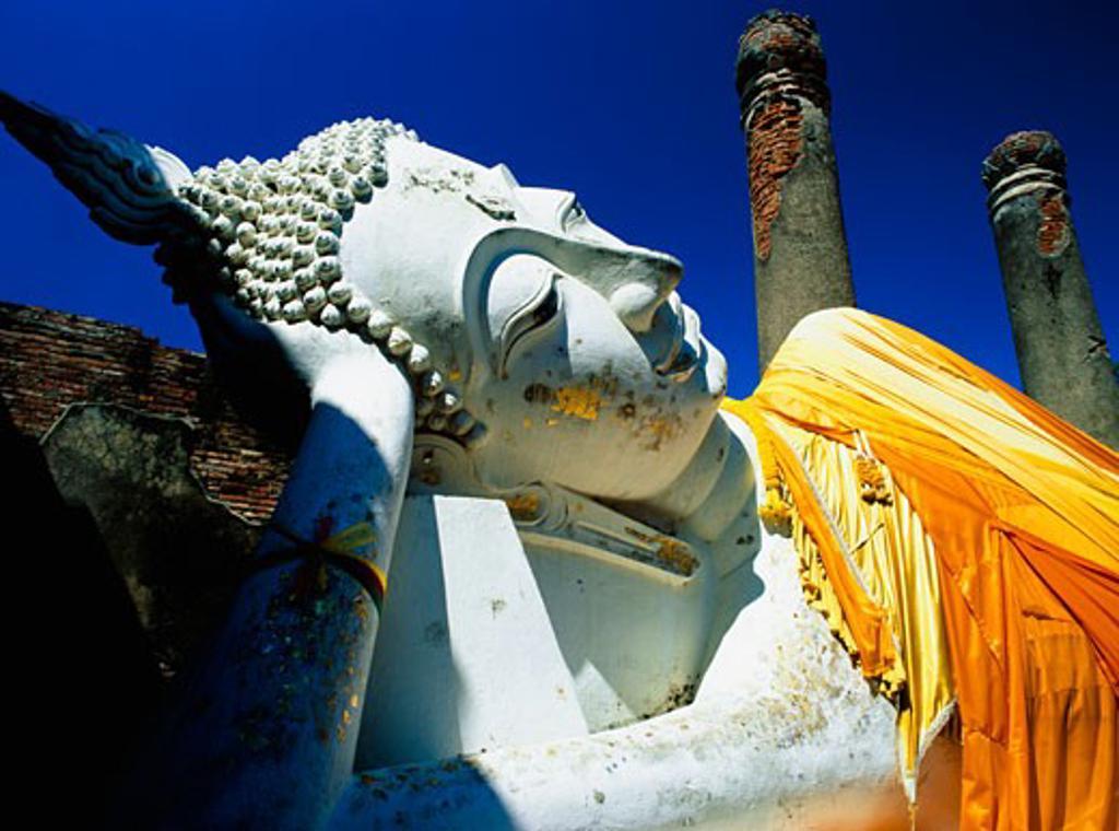 Stock Photo: 1783-22038 Reclining Buddha statue at Wat Yai Chai Monghon, Ayuthaya, Thailand, Ayuthaya, Thailand.