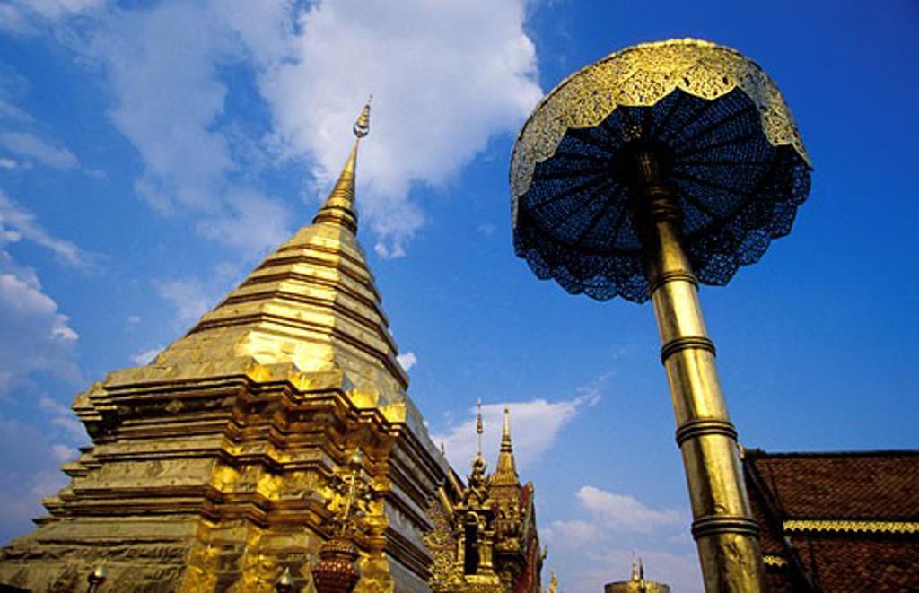 Stock Photo: 1783-22133 Gold stupa and umbrella Wat Phra Doi Suthep, Chiang Mai, Thailand