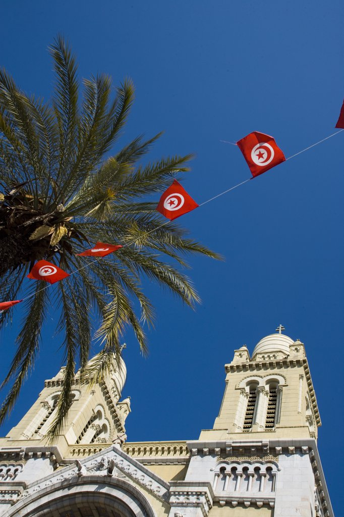 Stock Photo: 1783-22327 Cathedral of St Vincent de Paul, palm tree, and Tunisia flags, Tunis, Tunisia