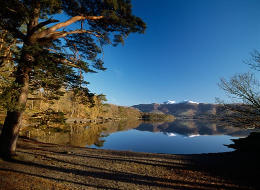Calm lake at Derwent Water, Lake District, Cumbria, England. : Stock Photo