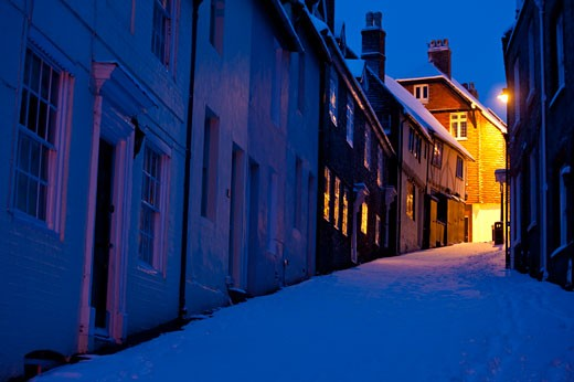 Stock Photo: 1783-22864 Keere Street in winter before dawn, Lewes, Sussex, England, UK.