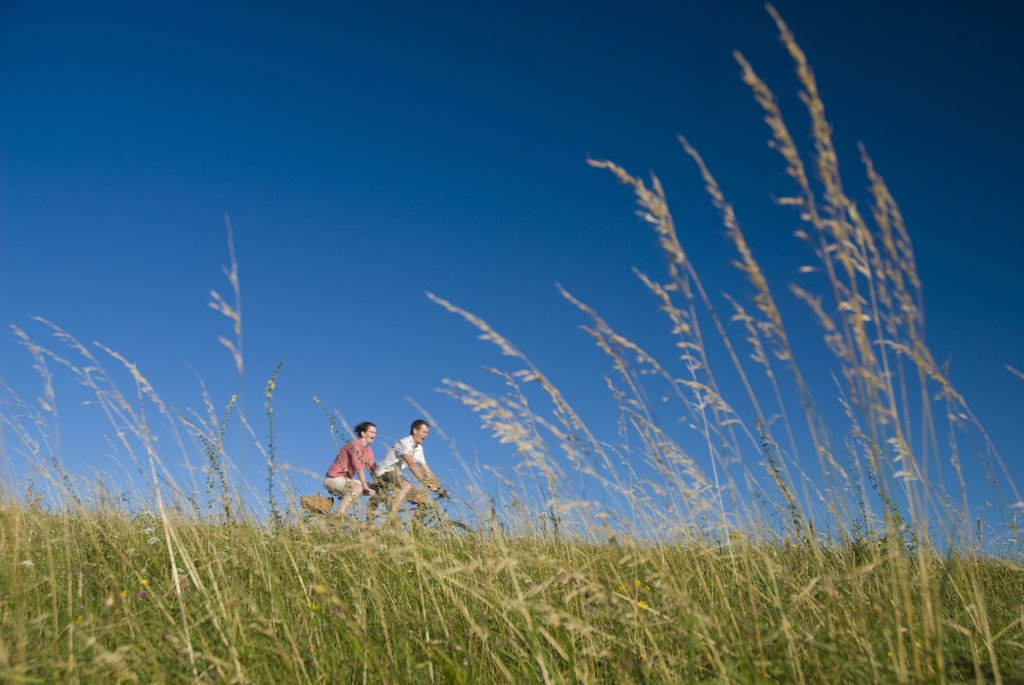 Stock Photo: 1783-23453 Couple going through meadow on tandem bicycle on the South Downs, Low Angle View, West Sussex, England
