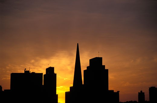 Stock Photo: 1783-23846 San Francisco skyline with Transamerica building, San Francisco, California, USA.