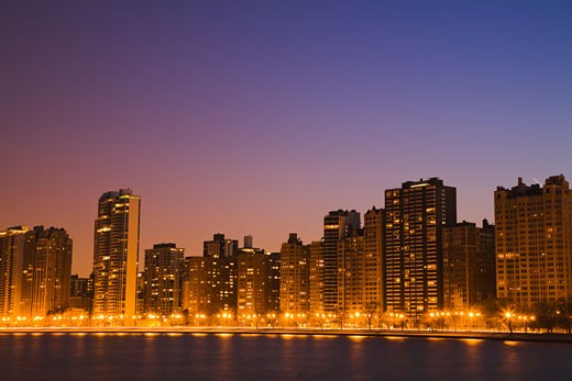 Chicago downtown skyline at night, Illinois, USA. : Stock Photo