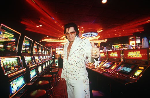 Stock Photo: 1783-24172 Elvis in Casino, Las Vegas, Nevada, USA.