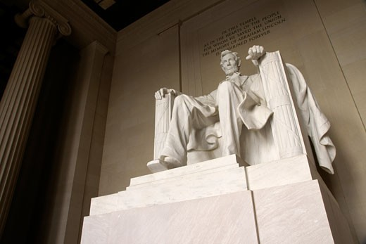 Stock Photo: 1783-24481 Monumental statue of Abraham Lincoln in the Lincoln Memorial, Washington DC, USA.