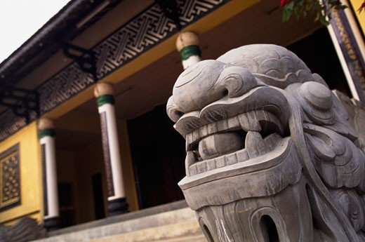 Stock Photo: 1783-24699 Stone dragon in front of Thien Vuong Pagoda, Dalat, Vietnam.