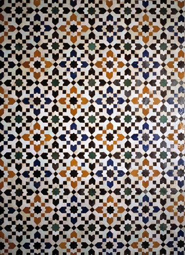 Stock Photo: 1783-2571 Detal of tiled wall in the Bahia Palace, Marrakesh, Morocco.