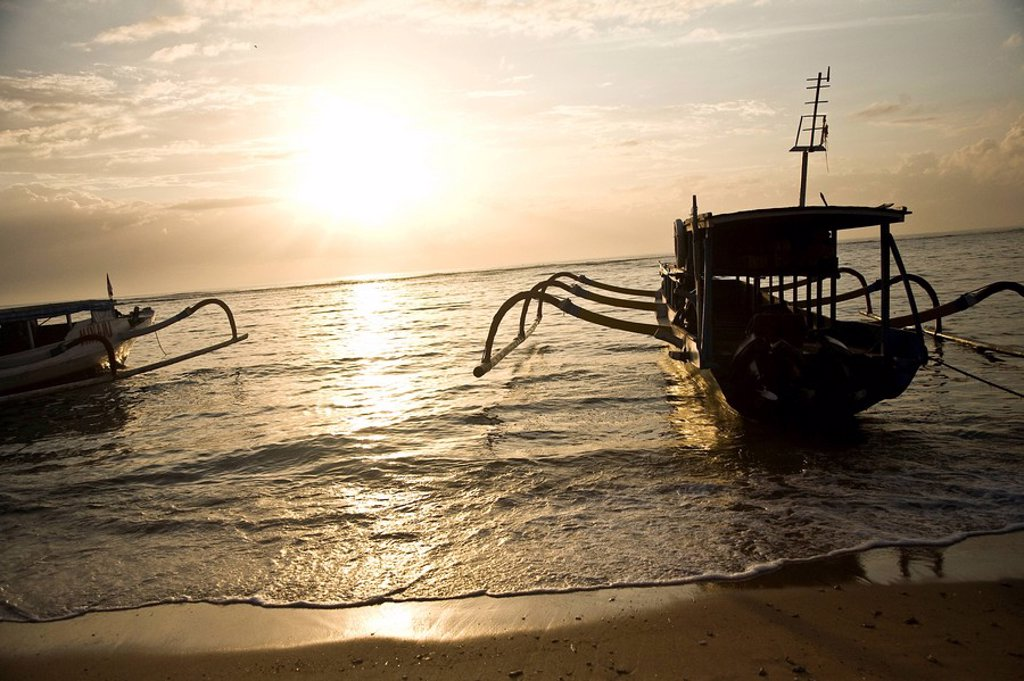 Stock Photo: 1783-27741 Boats silhouette at sunset, Sanur, Bali, Indonesia