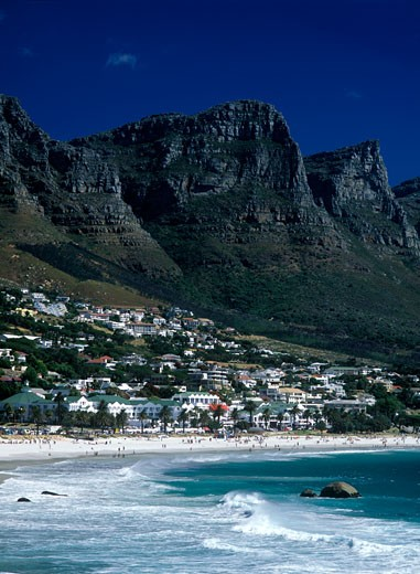 Looking along Clifton Beach with some of the Twelve Apostles above, Cape Town, South Africa.  : Stock Photo
