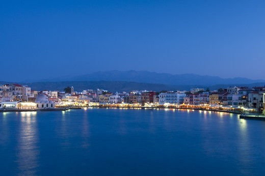 Stock Photo: 1783-31144 Harbourfront at dusk, ChaniaChania / Hania, Crete, Greece. Harbourfront at dusk, Chania