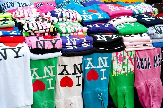 Colored Jumpers With The Famous Logo Created By Milton Glaser,, Manhattan, New York, USA. Colored Jumpers With The Famous Logo Created By Milton Glaser, : Stock Photo