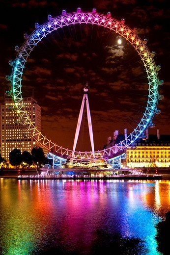 Big Wheel aka London Eye lit up with the rainbow colours during Pride nightLondon, UK. Big Wheel aka London Eye lit up with the rainbow colours during Pride night : Stock Photo