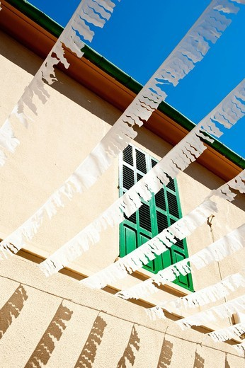 Decorated streetAlcudia, Mallorca, Balearic Islands, Spain. Decorated street : Stock Photo
