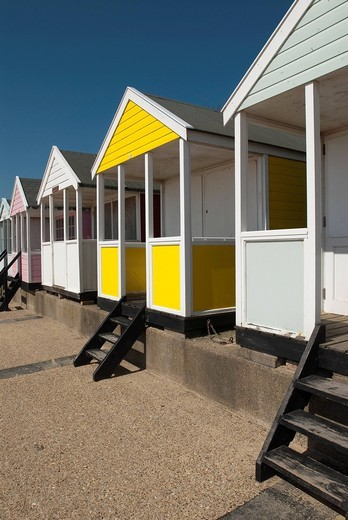 Traditional beach huts on the seafront at SouthwoldSouthwold, Suffolk, UK. Traditional beach huts on the seafront at Southwold : Stock Photo