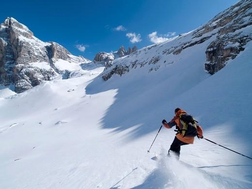 Skiing off_piste in Sesto National Park,Italian Dolomites, Sudtirol, Italy. Skiing off_piste in Sesto National Park, : Stock Photo