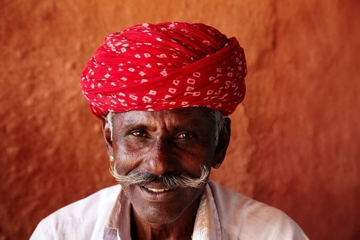 Local Man In Village Of Rohet , Rohet Rajasthan India. Local Man In Village Of Rohet : Stock Photo