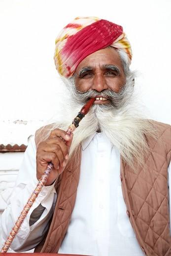 Old Man In The Meherangarh Fort, Meherangarh Fort Jodphur Rajasthan India. Old Man In The Meherangarh Fort : Stock Photo
