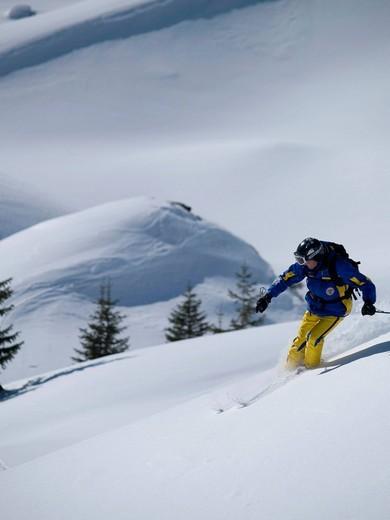Ski instructor off pisteAdelboden, Swiss Alps, Switzerland. Ski instructor off piste : Stock Photo