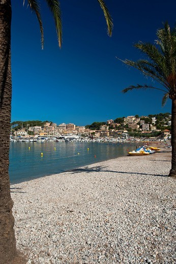 Stock Photo: 1783-31782 Palm trees on beach of Port SollerMajorca, Spain. Palm trees on beach of Port Soller