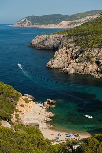Looking down onto Cala d´en Serra beachIbiza, Spain. Looking down onto Cala d´en Serra beach : Stock Photo