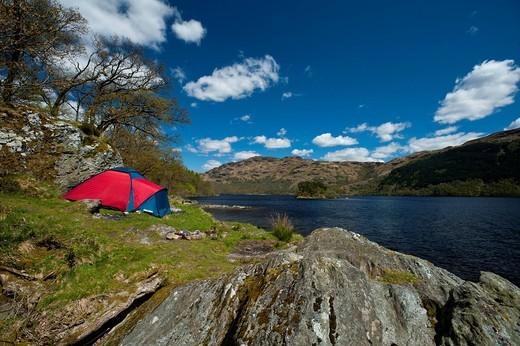 Tent beside Loch LomondArgyll & Bute, Scotland. Tent beside Loch Lomond : Stock Photo