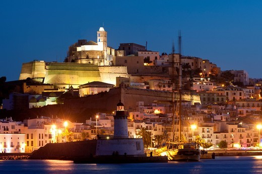 Looking across harbour to Ibiza town at duskIbiza, Spain. Looking across harbour to Ibiza town at dusk : Stock Photo