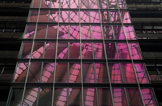 Glass Building at Sony Center with purple light reflectionBerlin, Germany. Glass Building at Sony Center with purple light reflection : Stock Photo