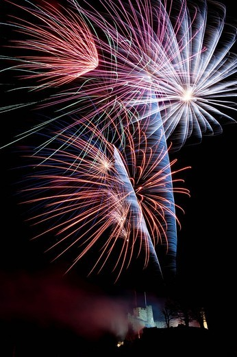 Stock Photo: 1783-31945 Fireworks exploding over Lewes castleLewes, East Sussex. Fireworks exploding over Lewes castle