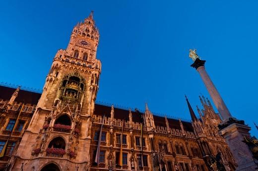 The Rathaus at duskMarienplatz, Munch, Bavaria, Germany. The Rathaus at dusk : Stock Photo