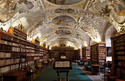 The Interior Of The Old Library In Strahov Monastery, Prague, Czech, Republic, Europe. The Interior Of The Old Library In Strahov Monastery : Stock Photo