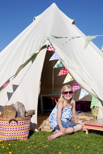Bell Tent camping on Grittenham FarmTillington, UK,. Bell Tent camping on Grittenham Farm : Stock Photo
