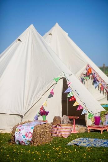 Bell Tent camping on Grittenham FarmTillington, UK,. Bell Tent camping on Grittenham Farm : Stock Photo