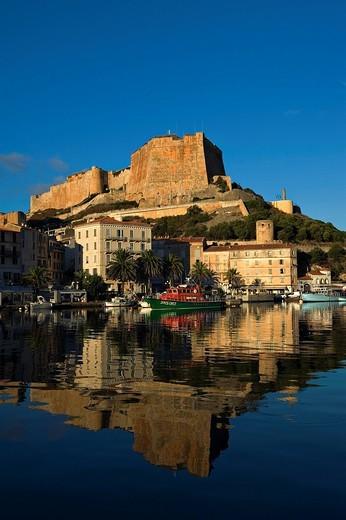 The citadel and harbour of Bonifacio.Bonifacio. Corsica. France. The citadel and harbour of Bonifacio. : Stock Photo