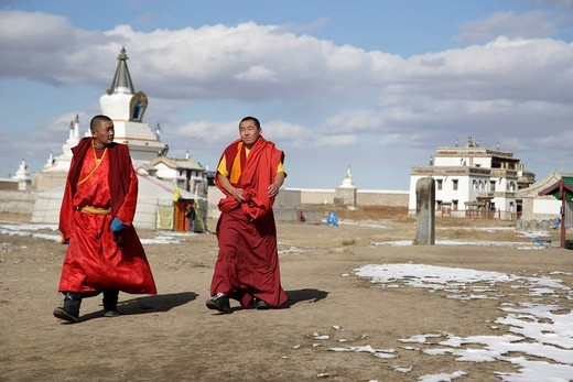 Stock Photo: 1783-32373 Lamas Walking Through, Erdene Zuu Monastery, , Kharkhorin, Mongolia. Lamas Walking Through, Erdene Zuu Monastery,