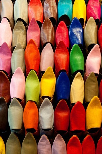 Colourful selection of Babouche slippers for sale in the souks of MarrakeshMarrakesh, Morocco. Colourful selection of Babouche slippers for sale in the souks of Marrakesh : Stock Photo
