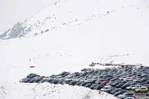 Parking at ski area in Boi Valley at the Pyrenees of CataloniaPyrenees of Catalonia, Spain. Parking at ski area in Boi Valley at the Pyrenees of Catalonia : Stock Photo