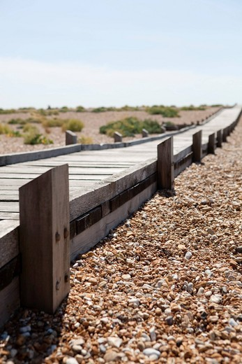 Walkways over the shingle at DungenesDungeness in Kent, UK. Walkways over the shingle at Dungenes : Stock Photo