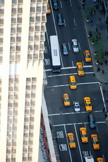 Manhattan avenue and taxis as seen from the top of the Empire State BuildingNew York, USA. Manhattan avenue and taxis as seen from the top of the Empire State Building : Stock Photo