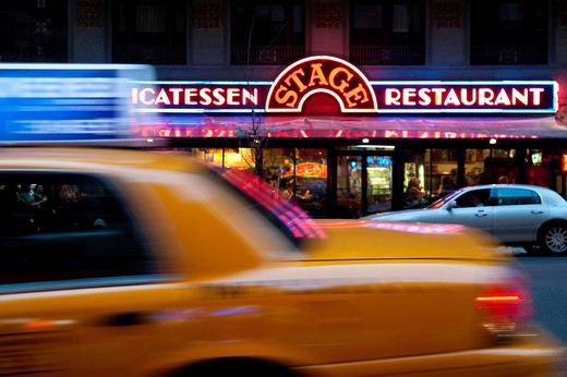 Taxi Driving Through The Theater District, Manhattan, New York, USA. Taxi Driving Through The Theater District : Stock Photo