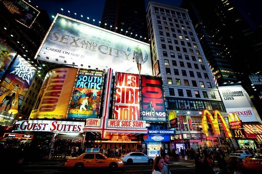 Ny Taxis In Times Square, Manhattan, New York, USA. Ny Taxis In Times Square : Stock Photo