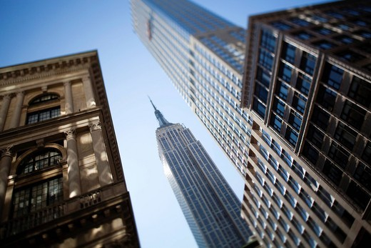 Tilt shift lens image _ looking up at Skyscrapers in ManhattanManhattan, New York. USA. Tilt shift lens image _ looking up at Skyscrapers in Manhattan : Stock Photo