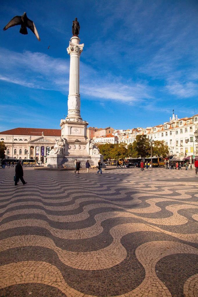 Stock Photo: 1783-34707 Portugal, known as Rossio Square; Lisbon, View of Dom Pedro IV Square