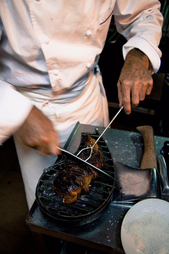 Stock Photo: 1783-34740 Spain, La Rioja, Chef in Meson Egues restaurant; Logrono