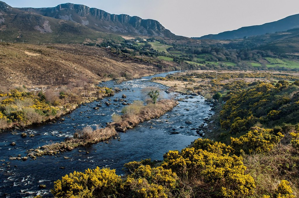 Uk, Ireland, County Kerry, River Behy With Macgillycuddy's Reeks Behind; Iveragh Peninsula : Stock Photo