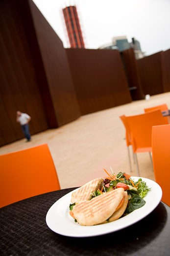 Stock Photo: 1783-3544 Sandwich on plate at cafe outside Australian Centre for Contemporary Art, Southbank, Melbourne, Australia