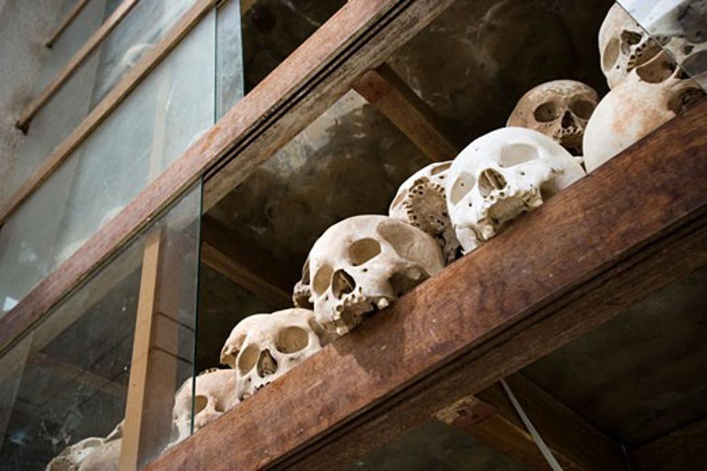 Skulls inside memorial stupa at Killing fields, Choeung Ek, Cambodia : Stock Photo