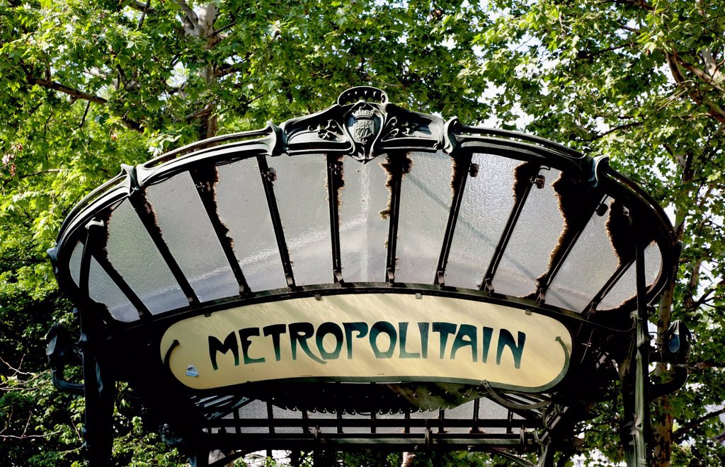 Stock Photo: 1783-37744 Art Nouveau style Metro entrance by Hector Guimard; Paris, France