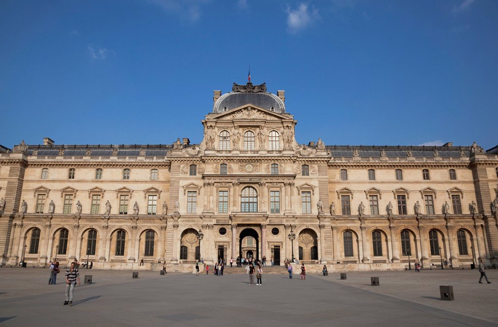 Stock Photo: 1783-37750 Exterior of Louvre Museum; Paris, France